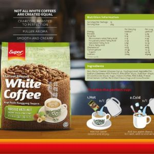 Super Charcoal Roasted White Coffee 3 In 1 -Classic/ Hazelnut/ Coffee & Creamer/ Brown Sugar