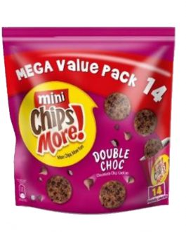 Mini ChipsMore! Double Choc Chocolate Chip Cookies Mega Value Pack 14 x 28g – 4085552