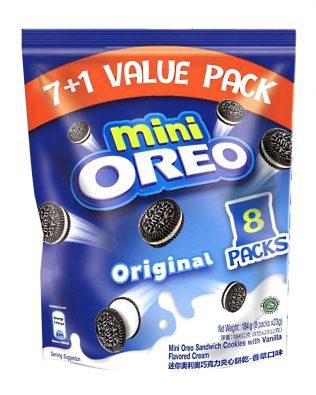 Mini Oreo Original Chocolate Sandwich Cookies with Vanilla Flavored Cream 8 Packs x 20.4g (163.2g) – 4253176