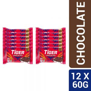 Tiger Plain Sweet Chocolate Flavoured Biscuits Small Pack 12 X 60G – 4040926