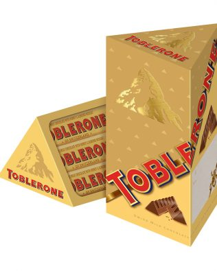 Toblerone Tall Tower Swiss Milk Chocolate with Honey and Almond Nougat 12 Bars x 35g (420g) – 4256342