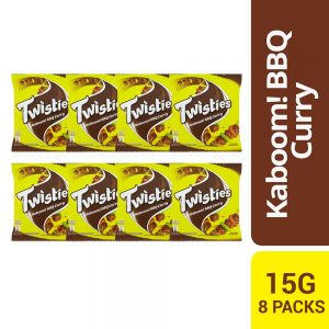 Twisties Kaboom! Flavoured Corn Snacks Spiced BBQ Curry Flavour 15G Multipack (8 Packs)
