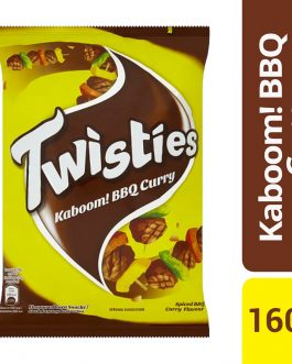 Twisties Kaboom! Flavoured Corn Snacks Spiced BBQ Curry Flavour 160g