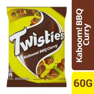 Twisties Kaboom! Flavoured Corn Snacks Spiced BBQ Curry Flavour 60g