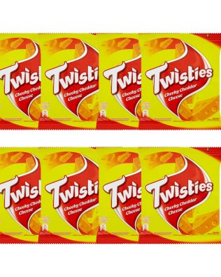 Twisties Flavoured Corn Snacks Cheeky Cheddar Cheese Flavour 15G Multipack (8 Packs)