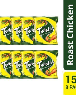 Twisties Flavoured Corn Snacks Herb Roasted Chicken Dance Flavour 15G Multipack (8 Packs)