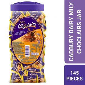 Cadbury Choclairs Caramel With Chocolate Flavours Confection Centre Original Flavour Jar 145 Pieces – 4060083