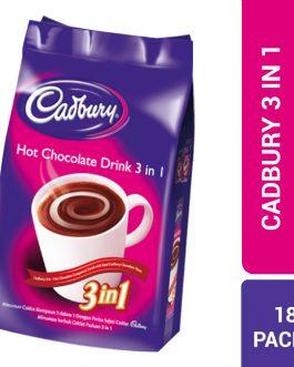 Cadbury 3 In 1 Hot Chocolate Compound Drink With Real Cadbury Chocolate Taste (18 Pack x 30G) – 4060515
