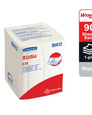 WypAll® X70 Wipers, ¼ fold, 95412 – White, (1 Pack x 90 sheets) & 1 ply
