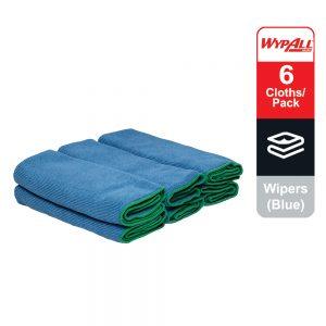 WypAll® Microfibre Cloths 83620 – Blue, (1 carry pack x 6 cloths)
