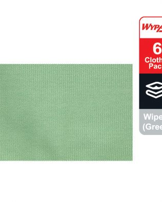 WypAll® Microfibre Cloths 83630 – Green, (1 carry pack x 6 cloths)