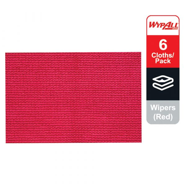 WypAll® Microfibre Cloths 83980 - Red, (1 carry pack x 6 cloths)