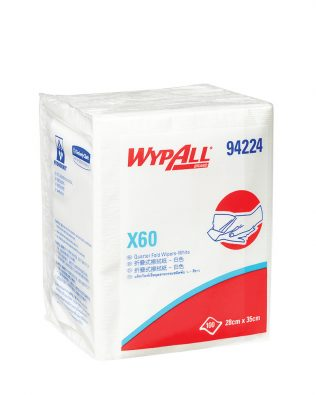 WypAll® X60 Quarter Fold Wipers 94224 – White, (1 Band x 100 sheets) & 1 ply
