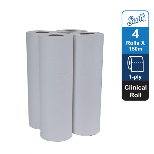 Scott® Clinical Roll 20251 - White, (4 rolls x 150m) & 1 ply