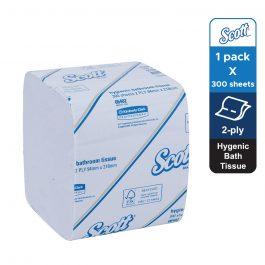 Scott® Control™ Hygienic Bath Toilet Tissue 06402 – White, (1 pack x 300 sheets) & 2 ply