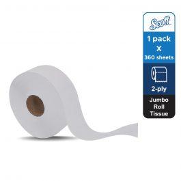 Scott® Essential™ Jumbo Roll Toilet Tissue 06514 – White, (1 roll x 360m) &  2 ply sheets