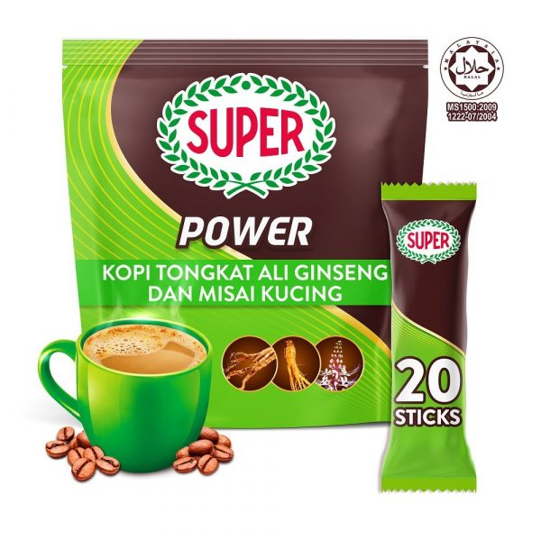 SUPER Power 6in1 Coffee with Tongkat Ali, Ginseng and Misai Kucing - 20 sticks