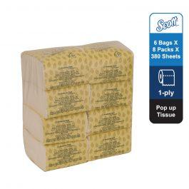 Scott® Pop Up Tissue 16191 – White, (1 bags x 8 packs x 380 sheets) & 1 ply