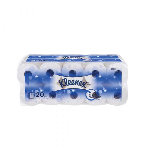 Kleenex® Standard Roll Toilet Tissue 05331 - White, (20 roll x 500 sheets) & 2 ply (10000 sheets)