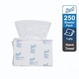 Scott® Hand Towel – Multifold, 38002 – White, (1 pack x 250 sheets) & 1 ply