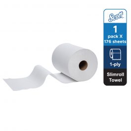 Scott® Control™ Slimroll™ Hand Towels 12388 – White, (1 roll x 176 sheets) & 1 ply