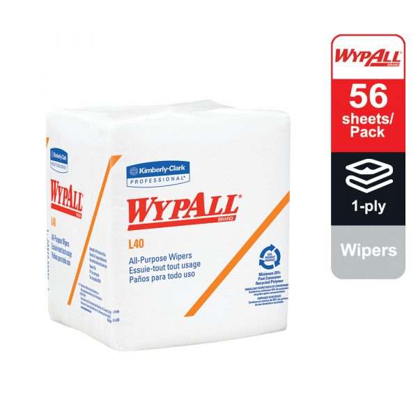 WypAll® L40 Disposable Cleaning and Drying Towels 1/4 fold 05701 - White, (1 Packs x 56 sheets) & 1 ply