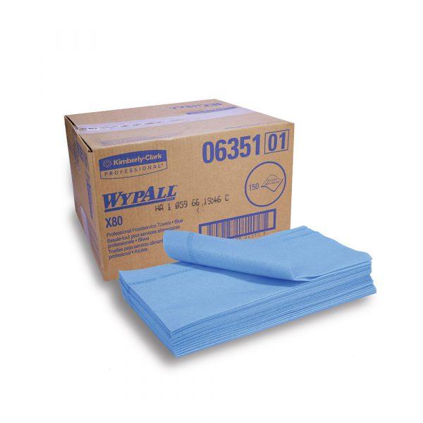 WypAll® X80 Foodservice Towels 06351 - Blue, (1 box x 150 towels)