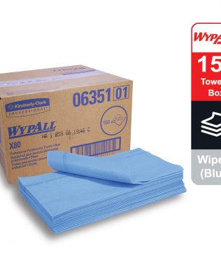 WypAll® X80 Foodservice Towels 06351 – Blue, (1 box x 150 towels)