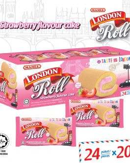 Mamee London Roll Strawberry Flavour Cake 24 Paket/ Piece – 6005