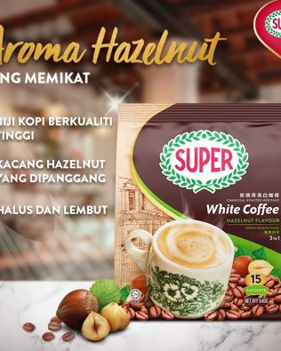 SUPER Charcoal Roasted Heritage 3 In 1 White Coffee Hazelnut 36G X 15sachets – 1674980