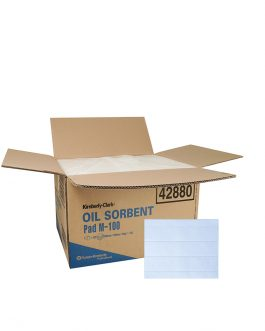 Kimberly-Clark™ Oil Sorbent Pad 42880 – White, 1 Box x 100 Pads (100 pads total)