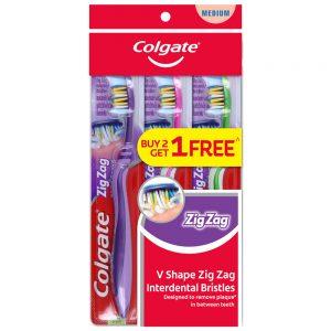 Colgate ZigZag Toothbrush Valuepack 3s (Medium)