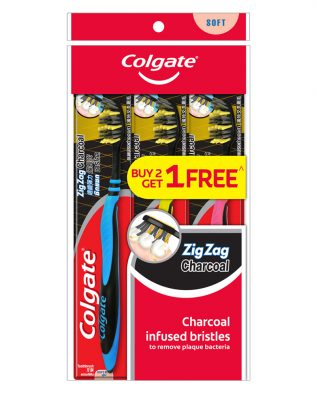 Colgate ZigZag Charcoal Toothbrush Valuepack 3s