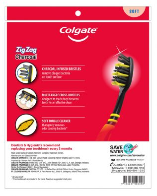 Colgate ZigZag Charcoal Toothbrush Valuepack 5s