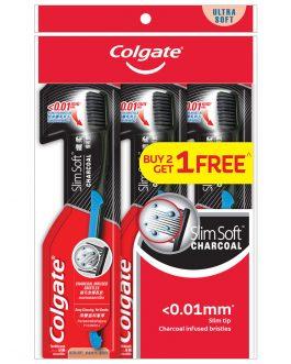 Colgate SlimSoft Charcoal Toothbrush Valuepack 3s (Ultra Soft)