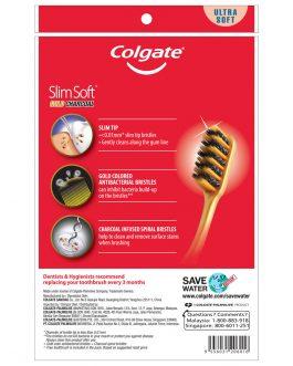 Colgate SlimSoft Charcoal Gold Toothbrush Valuepack 3s (Ultra Soft)