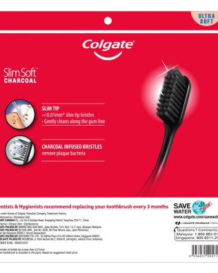 Colgate SlimSoft Charcoal Toothbrush Valuepack 5s (Ultra Soft)
