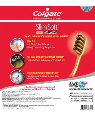 Colgate SlimSoft Charcoal Gold Toothbrush Valuepack 5s (Ultra Soft)