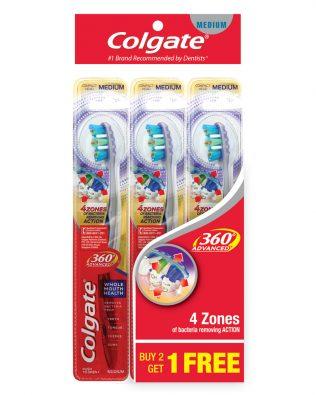 Colgate 360 Advanced Toothbrush Valuepack 3s (Medium)