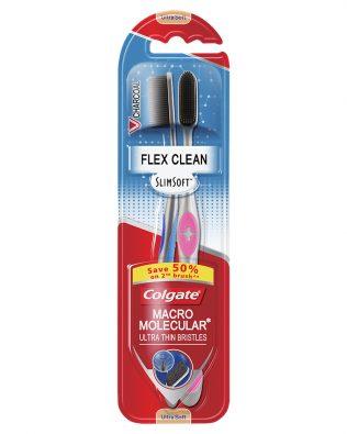 Colgate SlimSoft Flex Clean Charcoal Toothbrush Valuepack 2s (Ultra Soft)