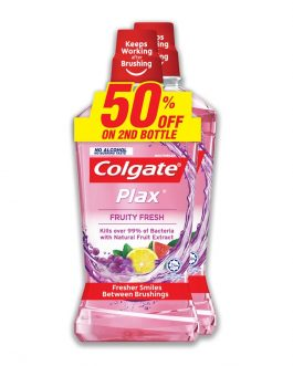 Colgate Plax Fruity Fresh Mouthwash Valuepack 750ml x 2