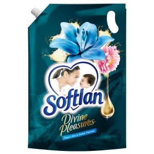 Softlan Divine Pleasures Aqua Lilies & Sweet Peonies Fabric Softener 1.3L Refill