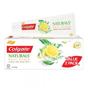 Colgate Naturals Pure Fresh (Lemon & Aloe Vera) Toothpaste Valuepack 120g x 2