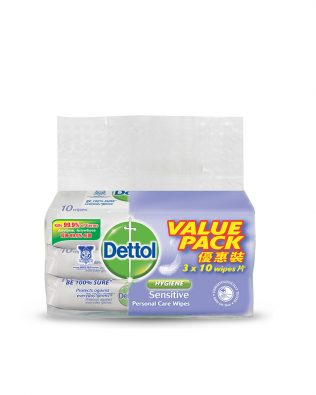 Dettol Personal Care Wet Wipes Sensitive 10s Value Pack Of 3