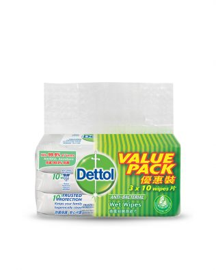 Dettol Anti-Bacterial Wet Wipes 10s Value Pack Of 3