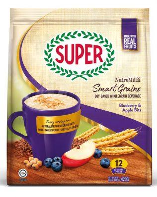 SUPER NUTREMILL SmartGrains WholeGrain Soy Beverage Blueberry & Apple Bits 35G X 12 Sachets