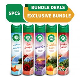 Air Wick Life Scents Air Freshener 4-in-1 Aerosol 300ml – Rose / Aqua Marine / Lavender / Peach Jasmine / Citrus