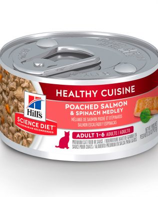 Hill's Science Diet Adult Healthy Cuisine Poached Salmon & Spinach Medley Cat Wet Food 79g – 10448