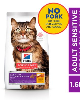 Hill's Science Diet Feline Adult Sensitive Skin & Stomach Cat Dry Food 1.6kg – 8523